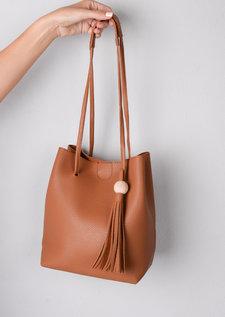 Tassel Shoulder Bucket Bag Tan Brown