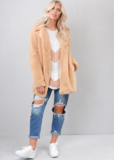 Fluffy Teddy Faux Fur Coat Camel Brown