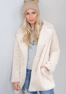 Fluffy Teddy Faux Fur Coat Cream White