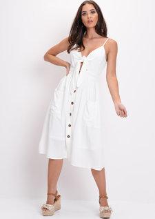 Tie Front Button Through Causal Midi Dress White