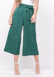 Tie Waist Wide Leg Culotte Trousers Green