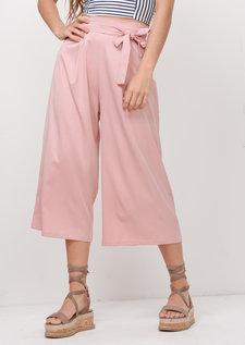Tie Waist Wide Leg Culotte Trousers Pink