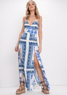 Tile Print Bodysuit Maxi Dress Blue