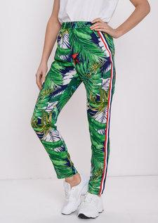 Tropical Print Side Stripe Joggers Multi