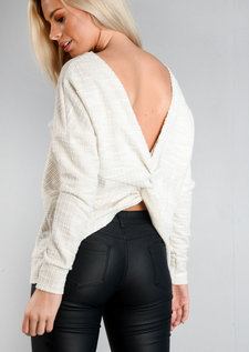 Twist Back Long Sleeve Jumper White