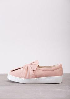 TwistFront Slip On Pumps Sneaker Suede Blush Pink