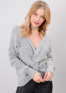 Twist Knot Front Knitted Jumper Grey