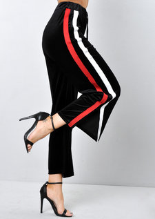 Velvet Stripe Culotte Trousers Black