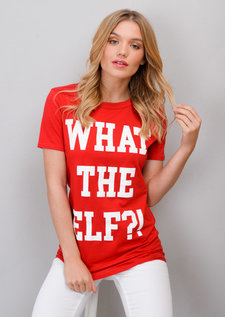 What The Elf Slogan Christmas T-Shirt Red