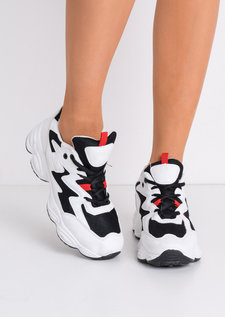 White Contrast Chunky Trainers Black