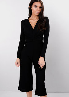 Wrap Front Cropped Palazzo Jumpsuit Black