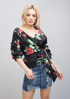 Wrap Over Rose Print Bow Tie Top Black