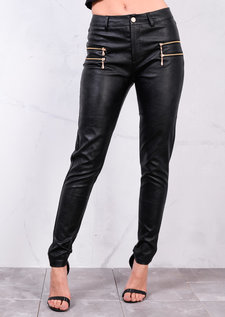 Zip Detail Faux Leather Look Trousers Black