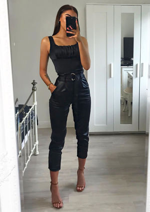 Faux Leather Wet Look D Ring Belted Trouser Black