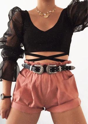 Organza Tie Front Sheer Puff Sleeve Crop Top Black