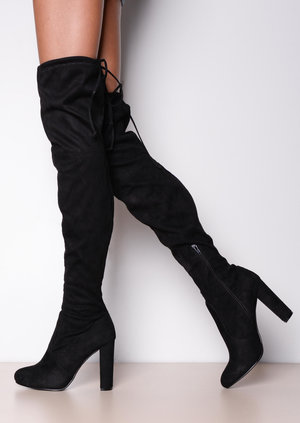 Thigh High Tie Back Faux Suede Knee High Heeled Boots Black