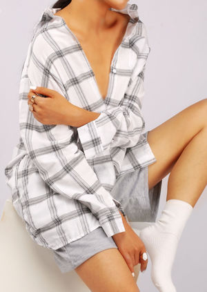 Button Down Oversized Checked Shirt White