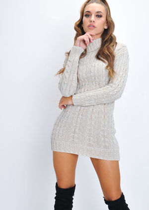 Cable Knit Turtleneck Bodycon Jumper Dress Beige