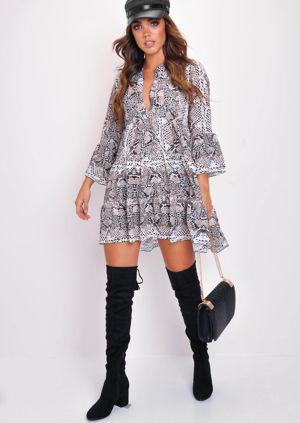 Deep V Neck Tiered Flare Sleeve Dress Brown Snake Print Multi