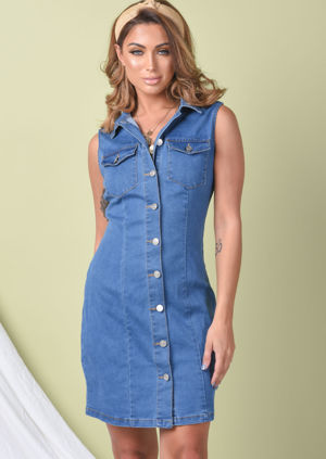 Button Through Denim Sleeveless Mini Dress Blue