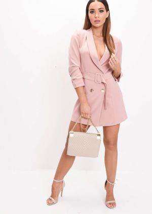 Double Breasted Belted Longline Blazer Mini Dress Pink