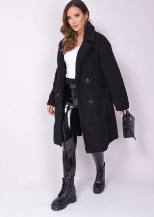 Double Breasted Oversized Longline Borg Teddy Coat Black