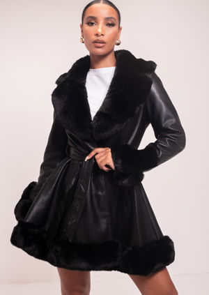 Faux Fur Collared And Trimmed Longline Belted Leather Coat Black