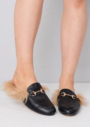 Faux Fur Flat Slip On Lined Mule Loafers Black