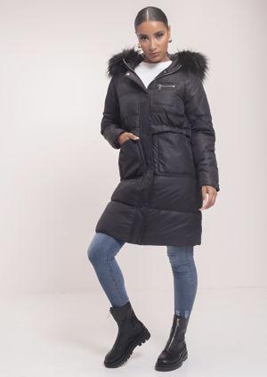 Faux Fur Hooded Drawstring Longline Padded Puffer Coat Black