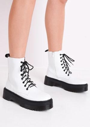 Faux Leather Lace Up Platform Combat Ankle Boots White