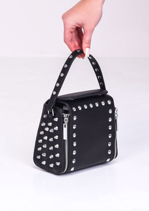 Faux Leather Zip Studded Box Tote Bag Black