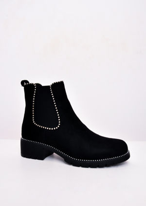 Faux Suede Chunky Studded Chelsea Ankle Boots Black