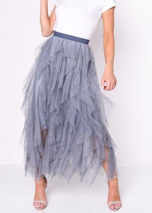High Waisted Layered Tulle Ruffle Midi Skirt Dark Grey