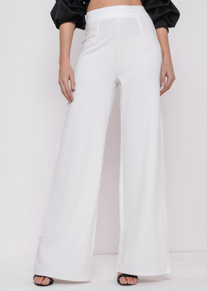 High Waisted Cream Wide LegPalazzo Trousers White