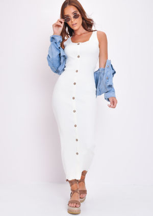 Knitted Button Front Maxi Dress White