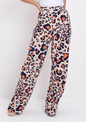Leopard Print Wide Leg Trousers Multi