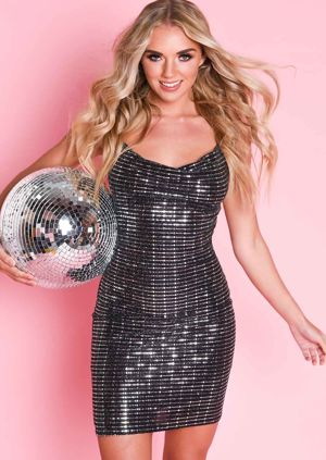 Mirrored Sequin Slinky Cowl Neck Mini Dress Silver Black