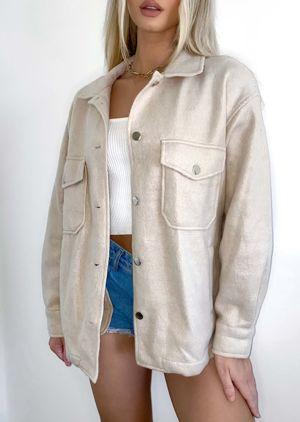 Oversized Brushed Utility Shirt Jacket Beige