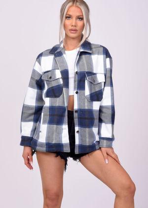 Oversized Brushed Checked Utility Shirt Jacket Blue