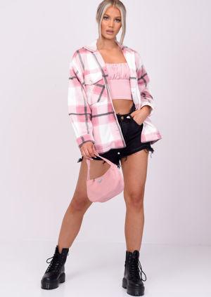 Oversized Brushed Checked Utility Shirt Jacket Pink