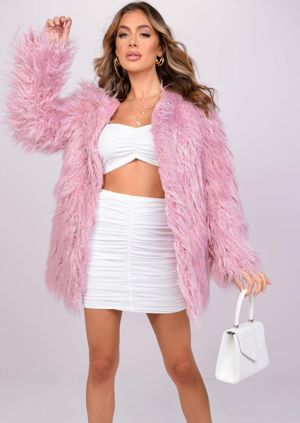 Oversized Shaggy Faux Fur Coat Jacket Pink