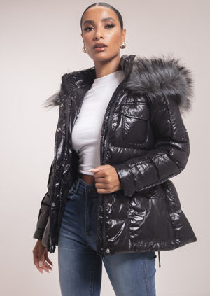 Down Faux Fur Hooded Belted Puffer Coat Black