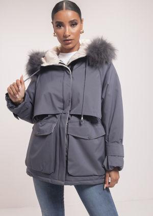 Oversized Faux Fur Hooded Velcro Fastening Parka Coat Grey