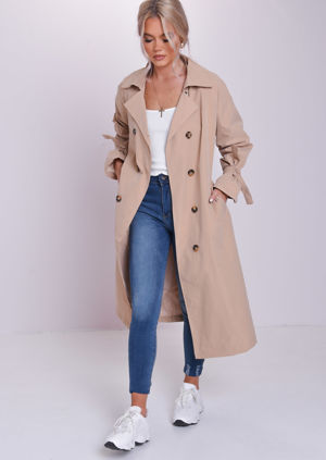 Longline Oversized Maxi Ruffle Sleeves Trench Coat Beige