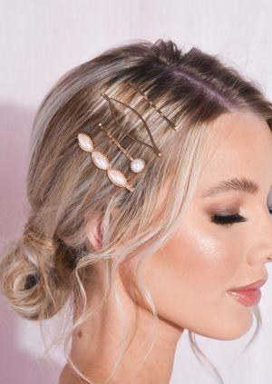 Pearl Detail Hair Slide Set Gold
