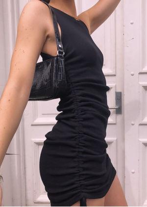 Ribbed Drawstring Side Ruched Mini Dress Black