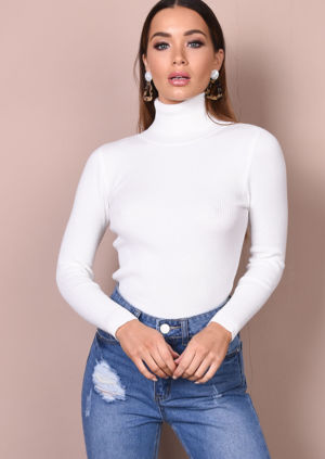 Roll Neck Ribbed Knit Jumper Top Cream