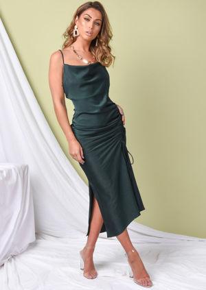 Ruched Side Splits Cowl Neck Maxi Dress Emerald Green