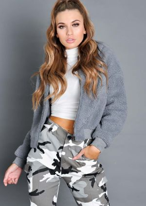 Teddy Faux Fur Borg Bomber Jacket Grey