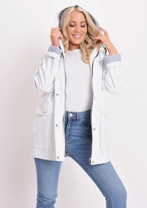 Waterproof Hooded Festival Rain Mac Coat White